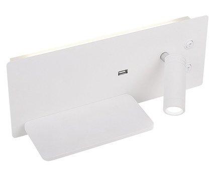 Kinkiet biały LED 4W z półką lampką ładowarką USB Olly Candellux 22-75987