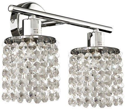 Kinkiet podwójny chromowy z kryształkami białymi Royal Candellux 92-28030