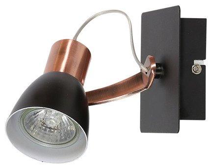Lampa ścienna kinkiet 1X50W GU10 czarny/miedziany bez żarówki MARKUS 91-35554-M