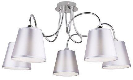 Lampa sufitowa chromowa 5x40W abażur z tkaniny Luk Candellux 35-70753