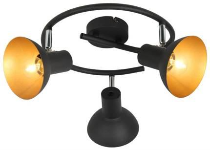 Lampa sufitowa spirala 3X40W E27 czarny + złoty metal DISO 98-63434