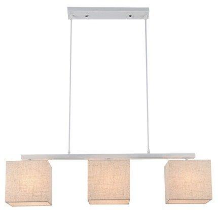 Lampa wisząca biała z lnianym abażurem 3x40W E27 Boho Candellux 33-58355