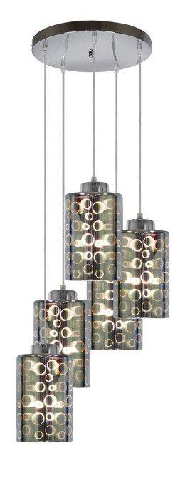 Lampa wisząca chrom talerz szklane klosze 3D 5x40W Nocturno Candellux 35-57730