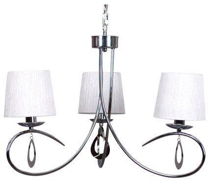 Lampa wisząca chromowa / biały abażur tkany 3x40W Arnika Candellux 33-21663