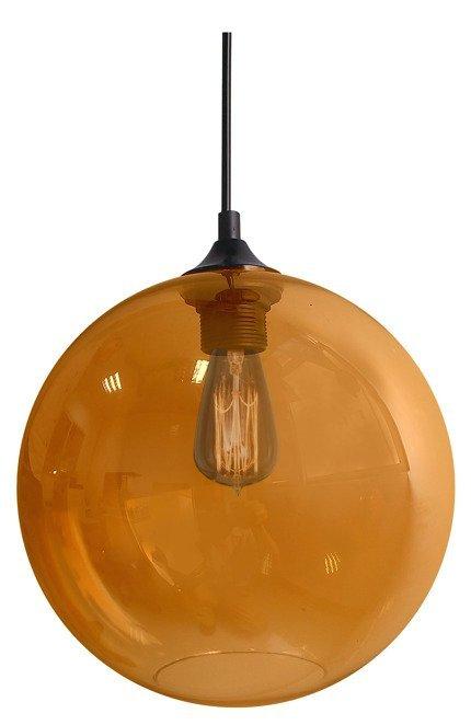 Lampa wisząca szklana kula bursztynowa + żarówka Edison 31-21397