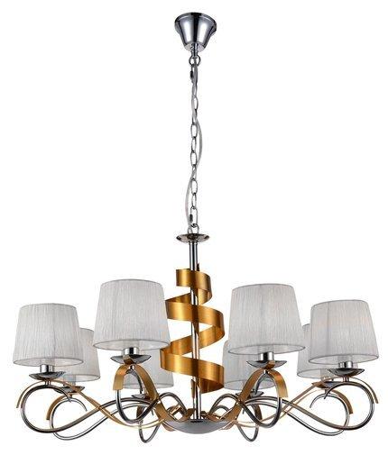Lampa wisząca żyrandoł chromowy + złoty 8x40W Denis Candellux 38-23469