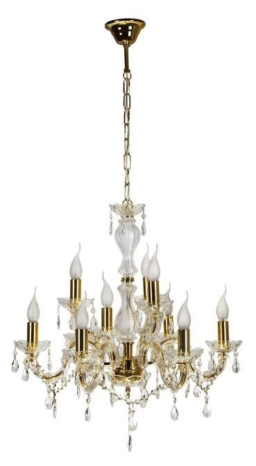 Lampa wisząca żyrandol z kryształkami złoty 9x40W Maria Teresa Candellux 39-95841