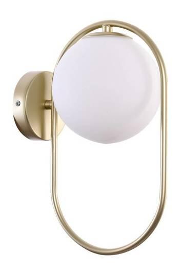Kinkiet mosiądz biała szklana kulka ring 28W G9 Cordel 21-73440