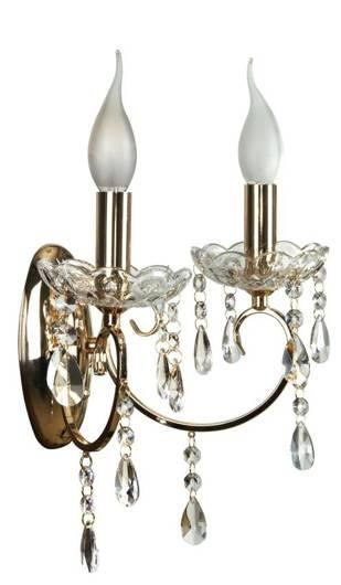 Kinkiet podwójny ścienny złoty z kryształkami Aurora Candellux 22-98323
