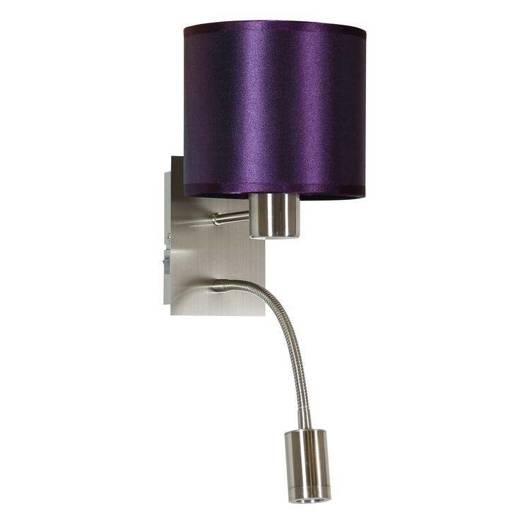 LAMPA ŚCIENNA KINKIET CANDELLUX SYLWANA 21-29430  E14 + LED Z WYŁĄCZNIKIEM SATYNA NIKIEL / FIOLETOWY