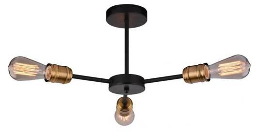Lampa sufitowa czarna/patyna potrójna +żarówki 3x60W Goldie 33-55750