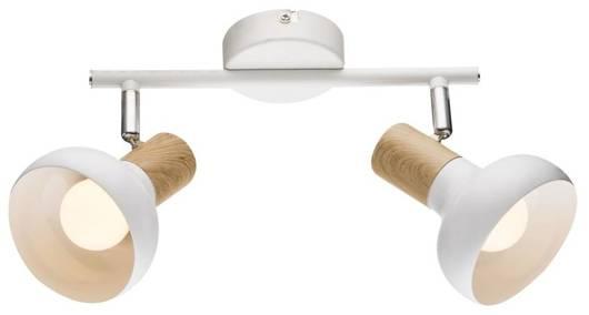 Lampa sufitowa ścienna listwa biała + drewno 2x40W Puerto Candellux 92-62659