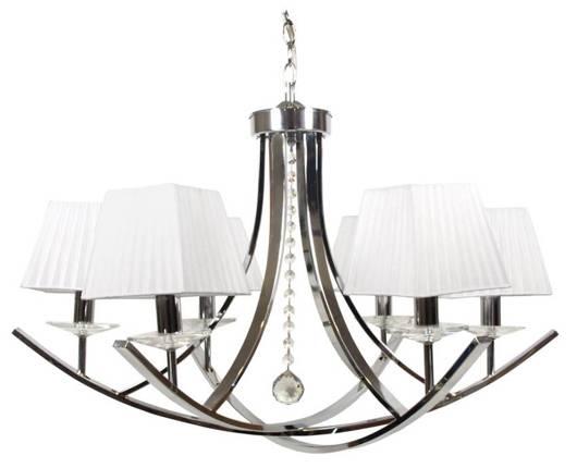 Lampa wisząca chrom / biały abażur z organzy 6x40W Valencia Candellux 36-84579