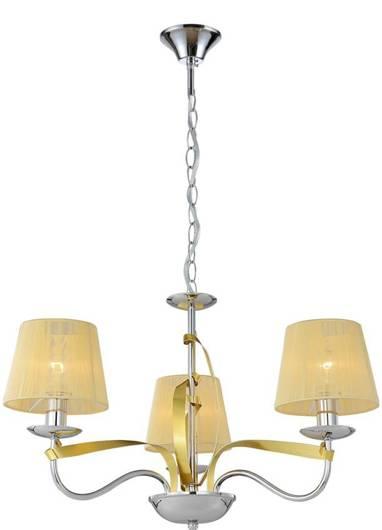 Lampa wisząca chrom / złoty nitkowy abażur 3x40W Diva Candellux 33-55057