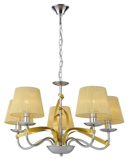 Lampa wisząca chrom / złoty nitkowy abażur 5x40W Diva Candellux 35-55064