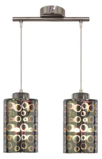 Lampa wisząca chromowa szklany klosz 3D 2x40W Nocturno Candellux 32-57693