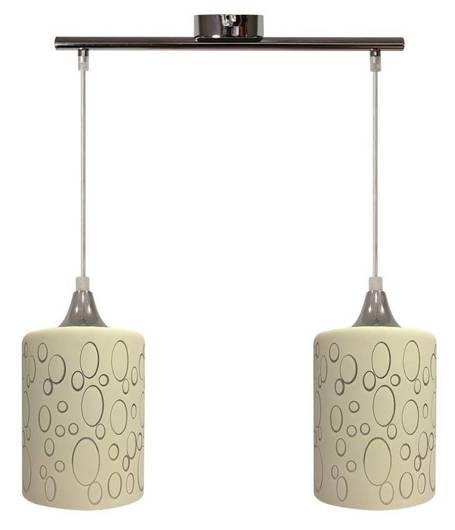 Lampa wisząca chromowa + szklany kremowy klosz 2x40W Sand Candellux 32-57761