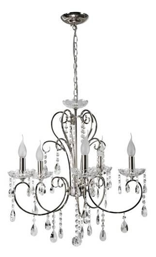 Lampa wisząca chromowa z kryształami żyrandol 5x40W Aurora Candellux 35-96152