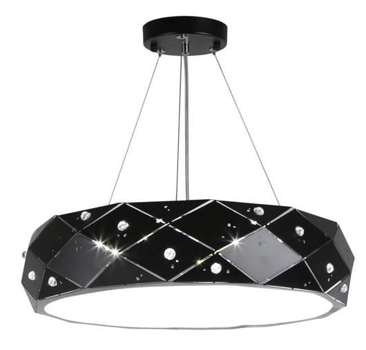 Lampa wisząca czarna metalowy klosz z kryształkami Glance Candellux 31-59192