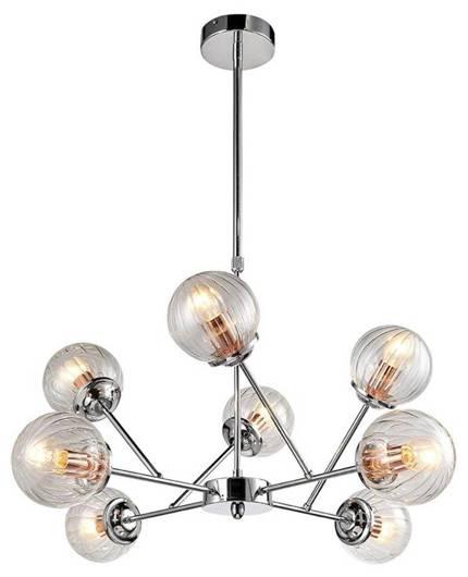 Lampa wisząca sufitowa chrom szklane klosze 8x40W Best Candellux 38-67289