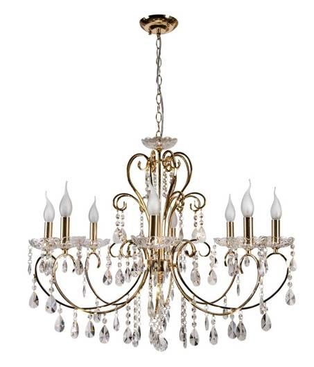 Lampa wisząca złota z kryształami żyrandol 8x40W Aurora Candellux 38-98644