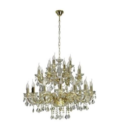 Lampa wisząca żyrandol z kryształkami złoty 28x40W Maria Teresa Candellux 30-94622