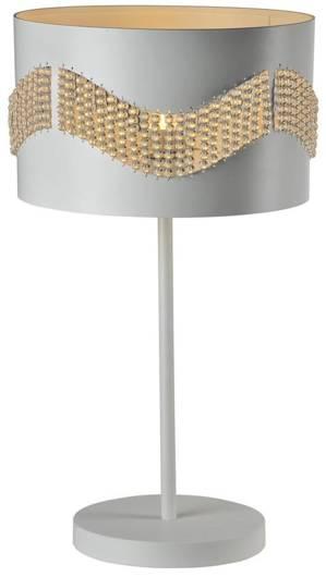 Lampka gabinetowa stołowa biała z koralikami 60W Antonio Candellux 41-23018